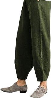 7253e8de94 Zantt Women Cotton Linen Casual Ankle High Waist Relaxed Harem Jogger Pants