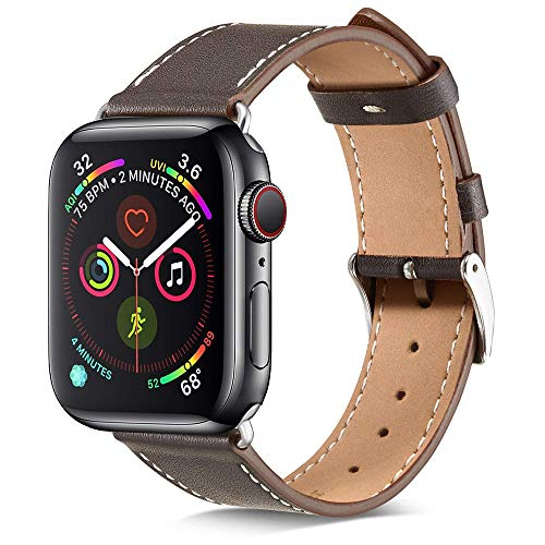 Marge Plus Compatible with Apple Watch Band 42mm 44mm, Genuine Leather Replacement Band Compatible with iWatch Series 5 4 (44mm) Series 3 2 1 (42mm) Sport and Edition, Ebony
