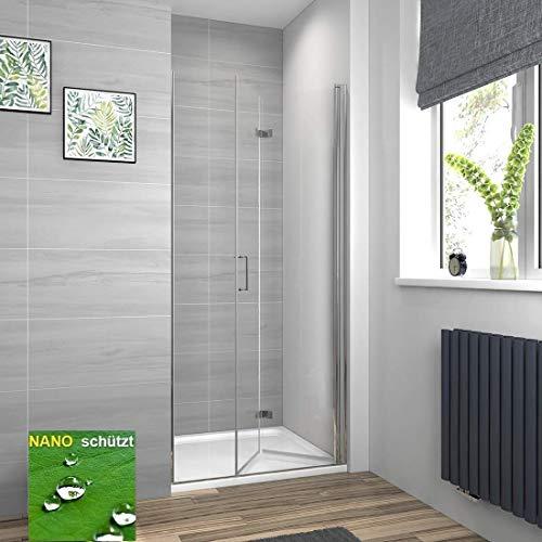 Meykoers Duschtür 120x195cm Duschkabine Nischentür Duschwand Glas, Duschabtrennung Nische mit Falttür, Duschtrennwand Faltwand aus 6mm ESG Sicherheitsglas mit Nano Beschichtung ohne Duschtasse