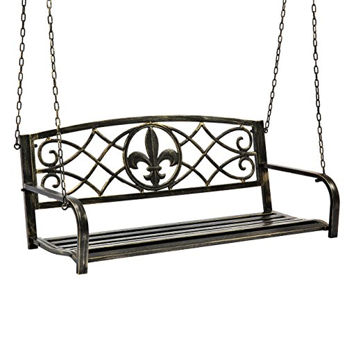 Best Choice Products Outdoor Furniture Metal Fleur-De-Lis Hanging Patio Porch Swing, Bronze