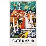 danyangshop Frankreich Tourismus Poster Côte D'Azur Boote