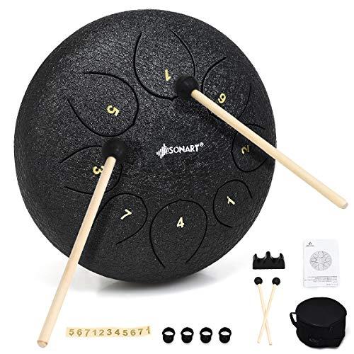 COSTWAY Stahlzungentrommel Schlaginstrument Pan Drum Percussion Instrument mit Schlegel, Fingerplektren, Tasche (8 Töne 10 Zoll)