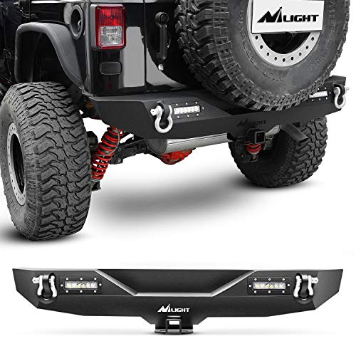 Nilight - JK-52A Rear Bumper Compatible for 2007-2018 Jeep Wrangler JK,Rock Crawler Bumper with Hitch Receiver & 2X Upgraded 40W LED Lights Off Road Textured Black,2 years Warranty
