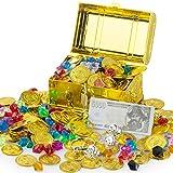 FORMIZON Mini Boîte de Coffre au Trésor de Pirate avec 100pcs d'or de Pirate, 100g Acrylic Diamant de Pirate, Anneaux de Pirate, Chasse au Tresor Pirates (Coffre aux Trésors de Pirates)