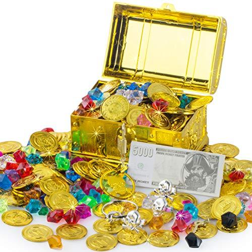 FORMIZON Goldmünzen Piratenschatz Piraten Schmucksteine Set, Schätze für Schatzsuche, 50Pcs Goldmünzen 100g Edelsteine mit Schatztruhe für Piraten-Partys (Goldmünze Edelstein mit Schatztruhe)