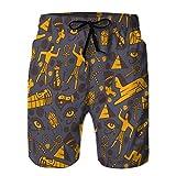 Pantalones Cortos de Verano para Hombre Pantalones Cortos Casuales Iconos Antiguos de Egipto en Patrones sin Fisuras XL