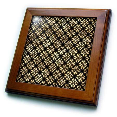 3dRose Black and Image of Gold Celtic Circle Knots Pattern - Framed Tiles (ft_335914_1)