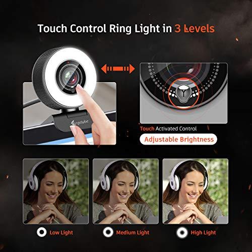 Angetube Streaming HD Webcam 1080P mit Lichtring, 967 USB PC Autofokus Webcam mit dualem Mikrofon, Videokamera für Mac Windows tragbar für Konferenzen und Spiele Xbox Skype OBS Twitch YouTube Xsplit