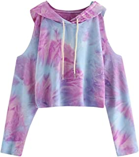 Hoodie Crop Tops for Women Tie Dye Long Sleeve Sweatshirt Pullover Blouse