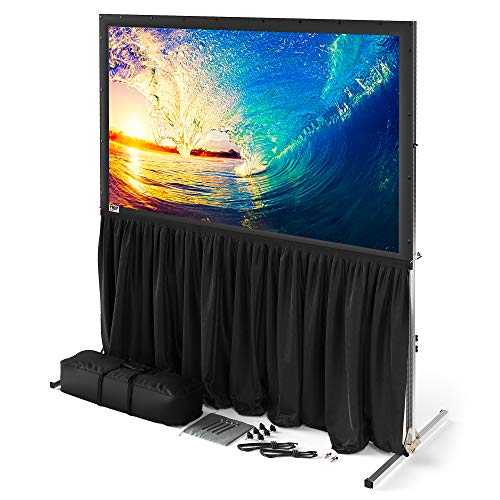 120 inch Projector Screen with Stand or Wall Mount - 2 in 1 Indoor Outdoor Movie Screen - Premium Portable Projection Screen HD 16:9 - Metal Fast Foldable Large Frame - Theater Skirt - Outdoor Kit