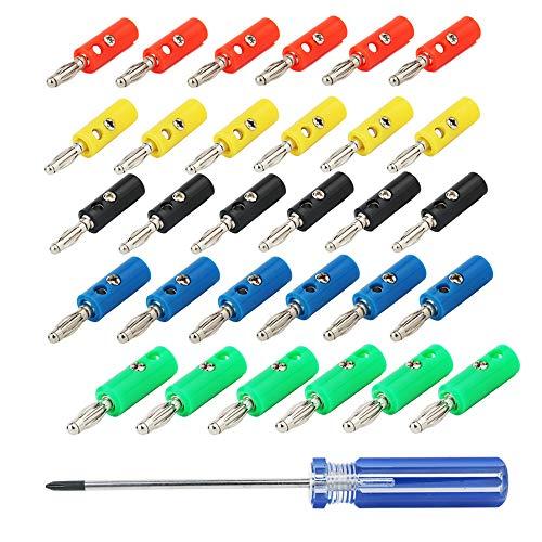 CESFONJER 4mm Conector Banana, Conector Altavoces, para Receptores AV, Amplificadores, Sonido Envolvente, Resistente a la Corrosión (6 Rojo, 6 Verde, 6 Azul, 6 Amarillo, 6 Negro + Destornillador)