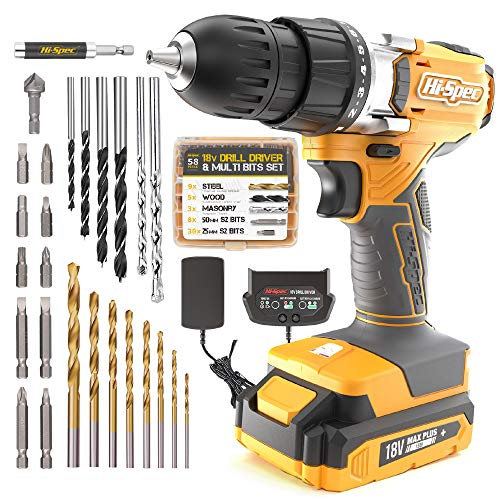 Hi-Spec 58 Piece 18V Drill Driver & Multi Bit Set. DIY Cordless Screw & Drilling Power Tool with S2 Steel Bit Set for Metal, Wood & Masonry.