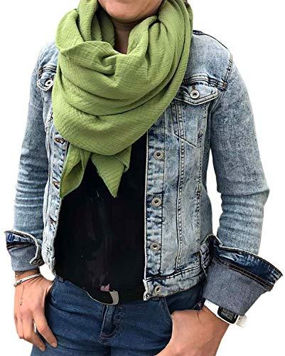 XXL Musselin Tuch Schal 100% feine Baumwolle 130x130 cm Damenhalstuch Halstuch Musselintuch Musselin Damen Herren Männer Frauen Farbe Grün