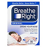 Breathe Right Breathe Right Large Nasal Congestion and Snoring Aid Strips, Original 30s