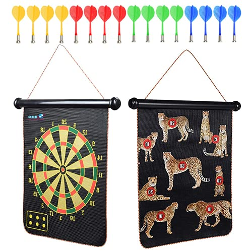 GSC {16PCS} Magnetic Dart Board for Kids I Outdoor Professional Dart Board Set Double Sided DartBoards - Kids Dart Board Easy to Hang I 12 + 4 Throwing Darts with Board