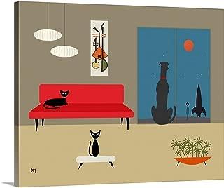 Mid Century Dog Spies Alien Canvas Wall Art Print, 20