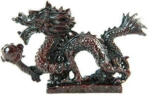 Bordeaux Acabado Resina Dragon sarcófago Bola Mágica Estatua Figura Decorativa DR12