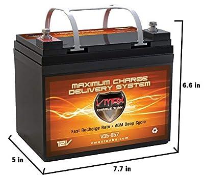 VMAXTANKS VMAX V35-857 12 Volt 35AH AGM Battery Marine Deep Cycle HI Performance Battery Ideal for Boats and 18-35lb minn kota, minnkota, Cobra, sevylor and Other trolling Motor (12V 35AH, Group U1) from VMAX USA