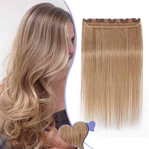 Extension de Cheveux Naturels à Clips Raide - #27 BLOND FONCE - Une Pièce - Remy Hair Grade 7A - Clip in Human Hair Extension - 55CM 55G