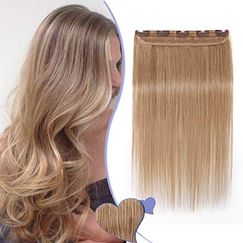 Extension Cheveux Naturel a Clip Raide - #27 BLOND FONCE - Une Seule Bande - Grade 7A Remy Hair - Clip in Human Hair Extension - 45CM 50G