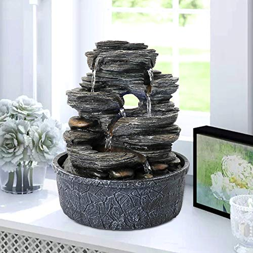 "Chillscreamni LED Lighted Tabletop Fountain - 9.8"" 5-Tiered 6 Water Flow Resin-Rock Relaxation Indoor Fountain, Designed as LED Illuminated Waterfall Fountain with LED Light&Soothing Water Feature"
