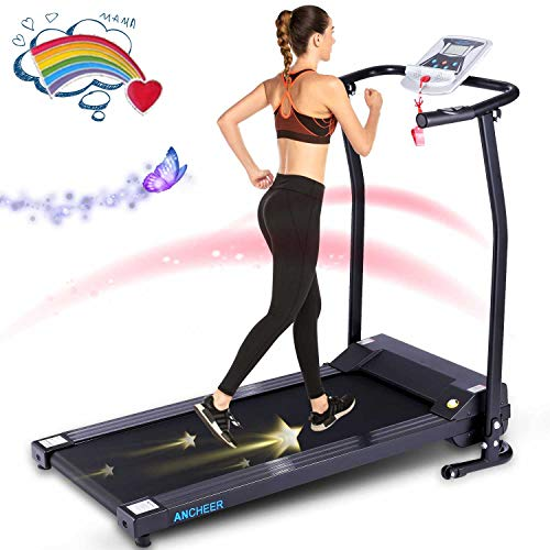 ANCHEER Treadmill for Home Use,12 Preset Programs, Folding Treadmill with LCD Monitor Motorized and Pulse Grip, New Levels Compact Electric Exercise Machine for Walking Jogging Running (Black)