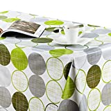 KP HOME Mantel de PVC con Diseño Moderno de Círculos Fresco Lime Verdes y Grises...