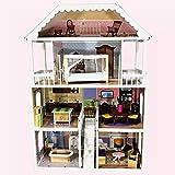TikTakToo XXL Puppenhaus aus Holz MDF Wooden Doll Haus mit Möbeln 4 Etagen - HÖHE 112 cm...