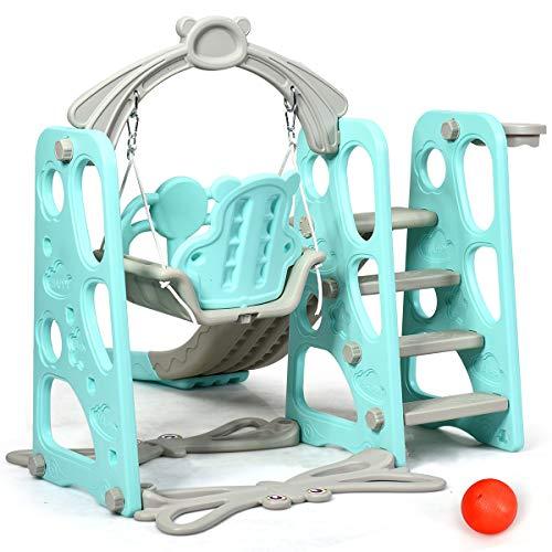 DREAMADE 3 in 1 Kinder Spielplatz, Kinderschaukel & Kinderrutsche Set mit Basketballkorb, Spielturm mit Rutsche und Schaukel für Indoor und Outdoor, Für Kinder 1 bis 5 Jahren (Grün) - 7