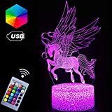 Unicorn Night Lights,3D Optical Illusion LED Lamps with Remote Control & RGB Colors Sleep Aid & Night Guidance Home Bedroom Decorations Bday Party,Christmas Gift Ideas for Girls Teen(Unicorn Fairy)
