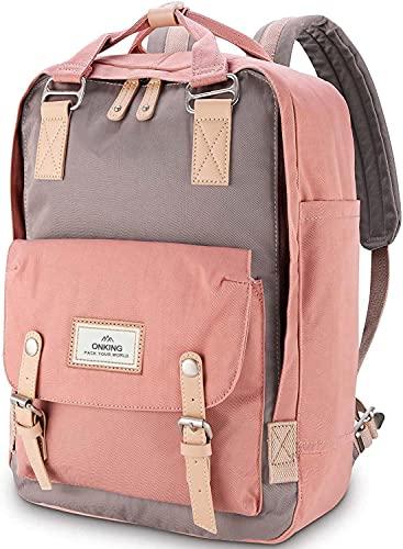 Rucksack Damen 16,5 Zoll, ONKING Premium Langlebiger Moderner Laptop Schulrucksack Wasserdicht mit Anti Diebstahl Tasche für Reisen Arbeiten Uni.- Rosa