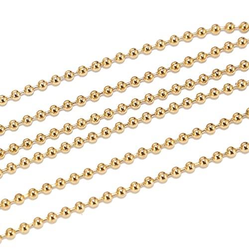 BOSAIYA PJ1 2M Acero Inoxidable de 1,6 mm / 2.0 mm / 2.4mm Bolas de Oro Cadenas de Bolas para Hombres Collar de Mujer Fabricación con 10pcs Conectores a Juego Tl0527 (Color : Gold Ball 2.4MM)