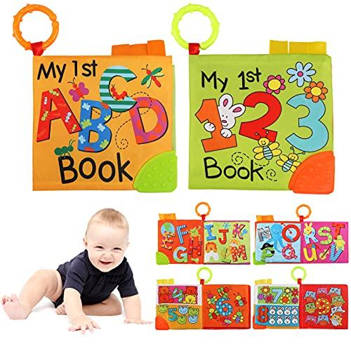 Ballery Libros Blandos para Bebé, Libros Bebes 1 Año, Bebé Libro de Suave, Libro de Cognición, Libro de Tela Bebé Aprendizaje y Educativo Libro para Bebé Recién Nacido Niños - 2 Piezas