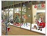 TMEOG Natale Vetrofanie, DIY Rimovibili Natale Adesivi Murales Stickers PVC Babbo Natale Albero di Natale Finestre Adesivo per Casa Camerette Salotto Fai da Te (A 4PCS 30cm X 90cm) (A)