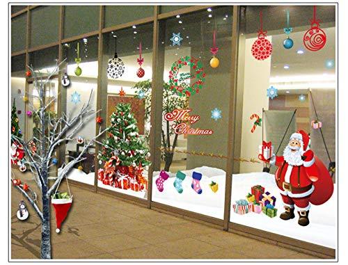 Natale Vetrofanie, DIY Rimovibili Natale Adesivi Murales Stickers PVC Babbo Natale Albero di Natale Finestre Adesivo per Casa Camerette Salotto Fai Da Te (A 4PCS 30cm X 90cm) (A)
