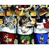 Joilkmgg Pintar por Numeros Cute Cats Adultos Principiantes DIY Pintura por números con Pinceles y Pinturas Decoraciones para el Hogar sin Marco de 40X50 cm