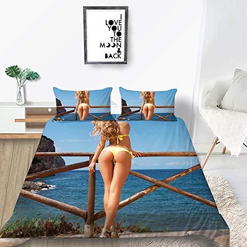 ACTMSY Juego de Funda 3 Piezas Conjunto de edredón 3D Belleza Bikini Impresa Funda de edredón 220X260 cm con Cierre con de Cremallera Microfibra Suave con 2 Fundas de Almohada,