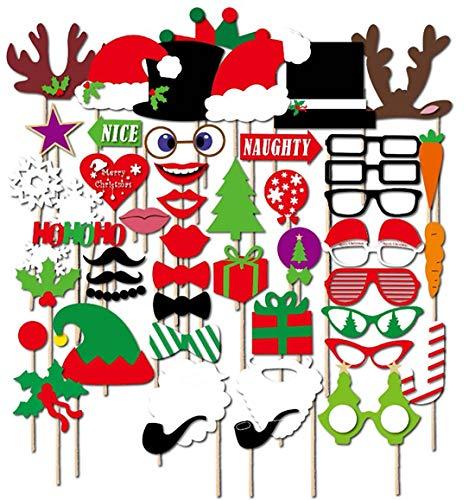 JOSE9A Kerstfoto accessoires en camera accessoires, snor, lippen, glazen, pijpen, hoeden, baarden, foto cabines, rekwisieten accessoires en kerstfeesten - (50sts)