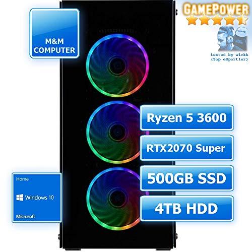 M&M Computer Dresden Gamer PC Ryzen, AMD Ryzen 5 3600 CPU, RTX 2070 Super 8GB, 480GB SSD, 4TB HD, 16GB RAM 2666MHz, Set mit MS-Windows 10, PC-Kauf-Empfehlung