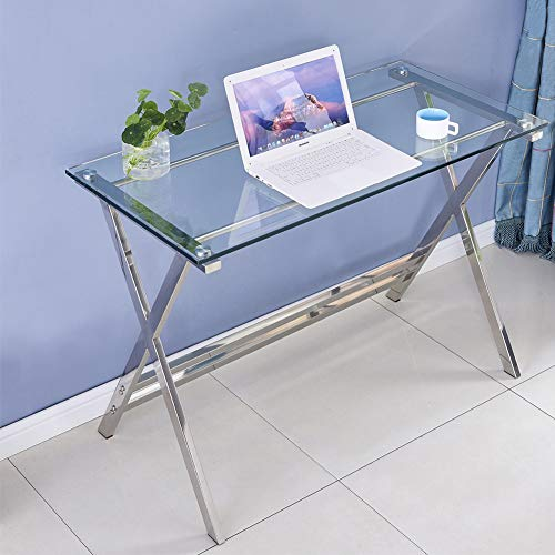 Modern Computer Desk Tempered Glass Small Computer Table for Small Spaces, Gaming Desk Study Table Workstation for Home Office Desks Console Table, Easy to Clean