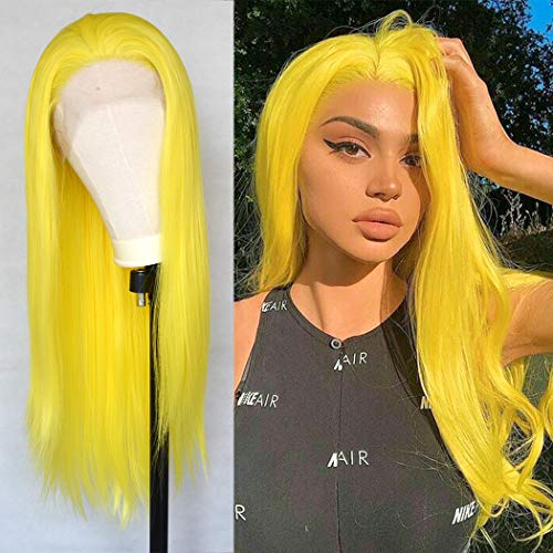 Luwigs Yellow Synthetic Lace Front Wigs Natual Straight Hair Wigs Heat Resistant for Women Girls Fashion Ginger Yellow Half Hand Tied 22inches