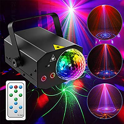 Disco Lights, Gvoo RGB LED Party Lights with Sound Activated Function Rotating Ball Lights DJ Lights with Remote Control for Home Outdoor Holidays Dance Parties Birthday