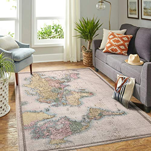 Veryday Alfombra decorativa con diseño de mapamundi, para salón, dormitorio, pasillo, color blanco, 91 x 152 cm