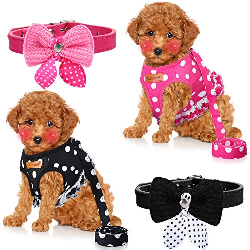 Weewooday 4 Pieces Cute Small Dog Harness and Leash Set Polka Dots Dog Vest Harness Set with Pink Leash and Bowknot Collar Harness Set for Puppy and Cat (Medium)