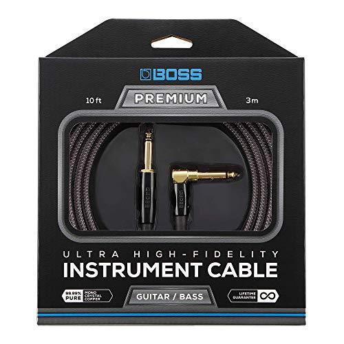 BOSS BIC-P10A Cable de instrumento con conectores de 1/4 de pulgada de recto a ángulo recto, 10ft / 3m