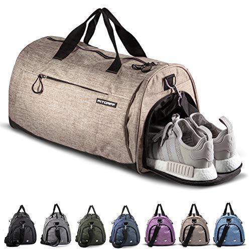 Fitgriff® Sporttasche Reisetasche mit Schuhfach & Nassfach - Männer & Frauen Fitnesstasche - Tasche für Sport, Fitness, Gym - Travel Bag & Duffel Bag 58cm x 31cm x 31cm [50 Liter] (Sand, Medium)