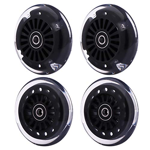 Wiggle Car Polyurethane Replacement Wheels Set (Front,2P Light Up), Swing Car Wheels Pack (Rear,2P Narrower) Upgrade for Original Plasma Car, Lil Rider, Ride-on Toys (Black)
