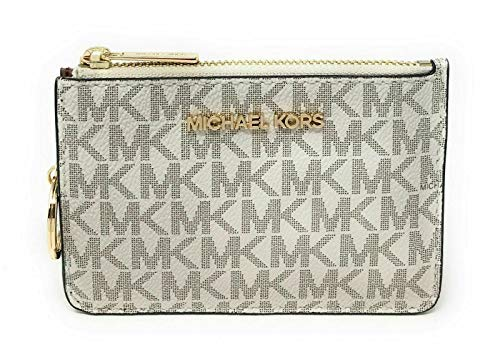 Michael Kors Jet Set Travel Small Top Zip Coin Pouch with ID Holder - PVC Coated Vanilla Signature