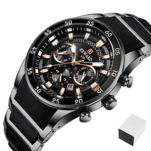JCCOZ-URG Reloj de los Hombres de primeras Marcas de Lujo de Silicona de Acero del Deporte del cronógrafo de Cuarzo Relojes Relojes de Hombre a Hombre a Prueba de Agua URG