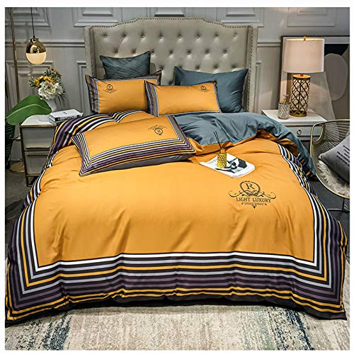 XiXiShangMao Osaka Four-Piece Household Four-Piece Cotton Quilt Cover, Bed Linen And Four-Piece Set 1.8x2m Bed Sheet Type